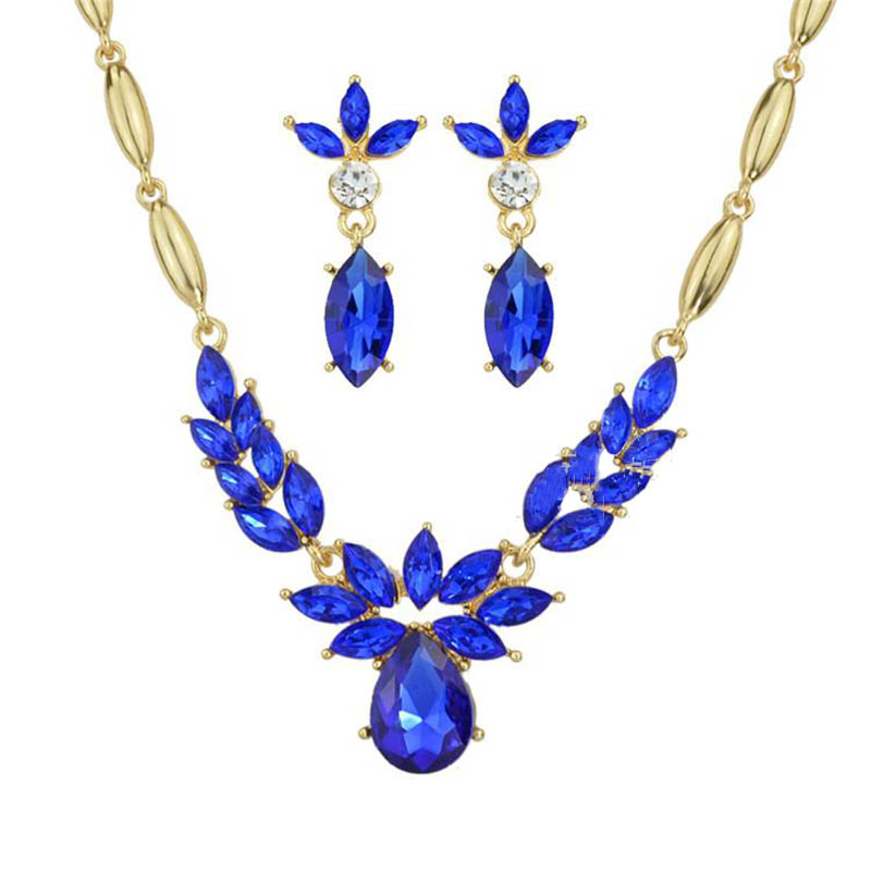 Women's New Gold Plated CZ Diamond Rhinestone Necklace+Earrings Flower Wedding Jewelry Sets Free shipping