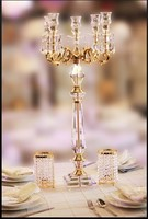 35.43inch Tall crystal candlesticks with metal pillar wedding table centerpieces crystal candelabra