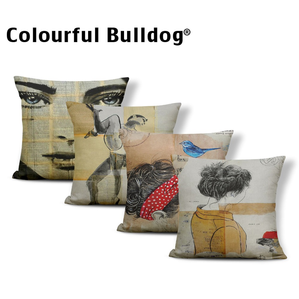 Character Cushion Animal Geometry Pillow Case Covers Bird Graffiti School Baby Birth Gifts Throw Pillow Cases 45*45 Cotton Linen