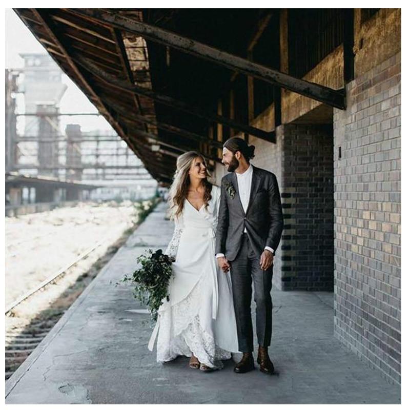 LORIE White Boho Wedding Dresses Lace Flare Sleeves V Neck Princess Bride Dress Floor Length Wedding