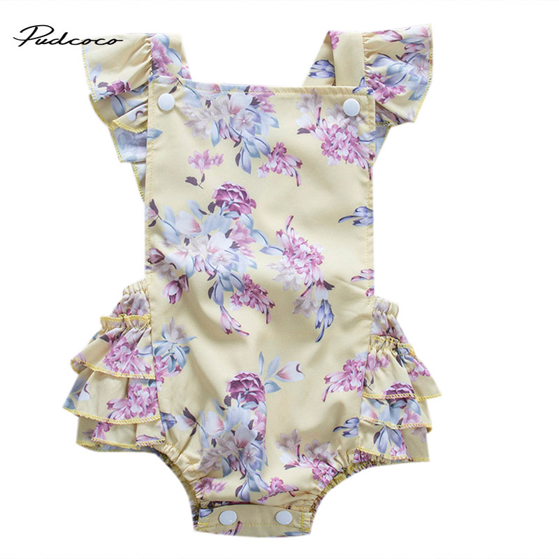 Cute Backless Floral Baby Romper 2017 Ruffles Lace Jumpsuit Newborn Baby Girls Bow Sunsuit Outfits Children Clothes 0-24M 2pcs baby set newborn baby girls clothes sleevless yellow lemon bow floral romper jumpsuit bodysuit headband clothes outfits