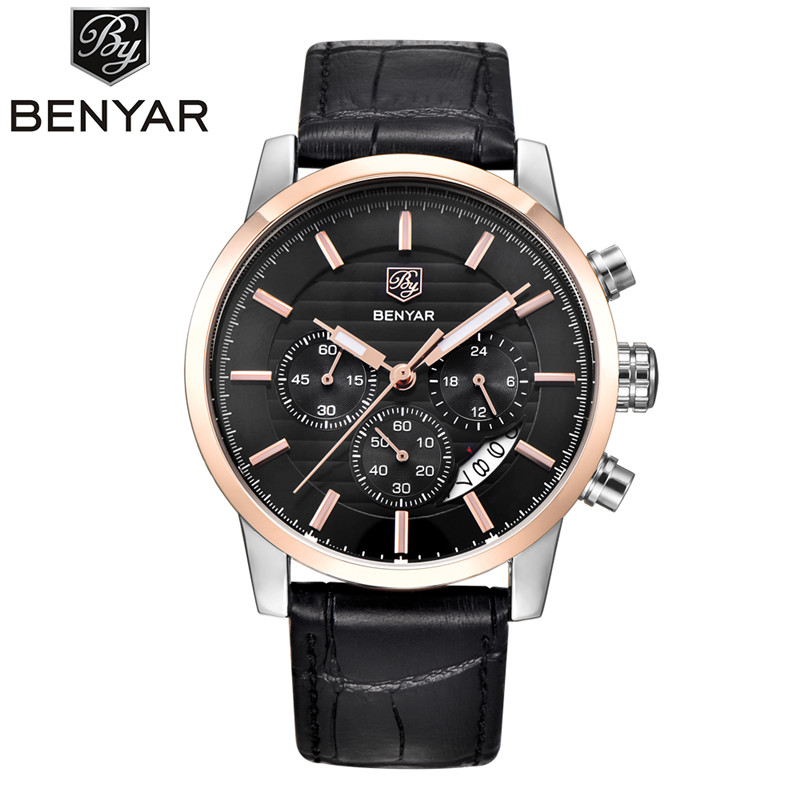 Reloj Hombre 2017 BENYAR Mens Fashion Chronograph Sport Watches Men Top Brand Luxury Leather Business Military Watch Male Clock jedir reloj hombre army quartz watch men brand luxury black leather mens watches fashion casual sport male clock men wristwatch