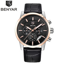 Reloj Hombre 2017 BENYAR Mens Fashion Chronograph Sport Watches Men Top Brand Luxury Leather Business Military Watch Male Clock