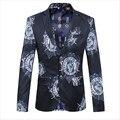 Mens Blazers de Palco Preto Tamanho M-5XL Mens Moda Casual Impresso Tow Botão Slim Fit Homens Vestido de Blazer Paletó XZ666