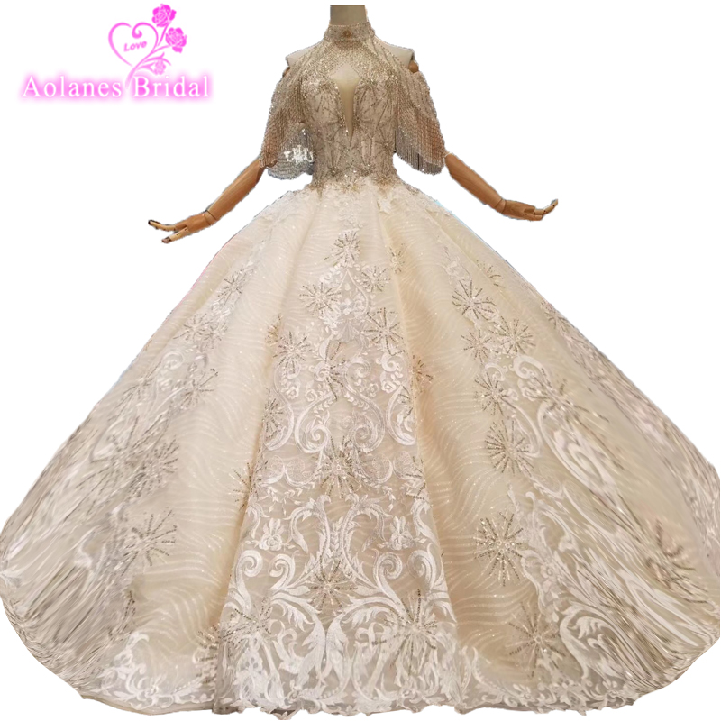 Newest Wedding Dresses 2019 Luxury Telass Crystals Beads Sequins Skirt High Neck Lace Vestido De Noiva Appliques Bridal Gowns