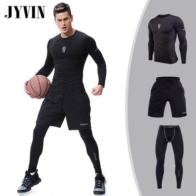Компрессионные Мужские спортивные костюмы Быстросохнущий комплект для бега s одежда мужской спортивный костюм для бега тренировка GymFitness спортивные костюмы комплект для бега demix
