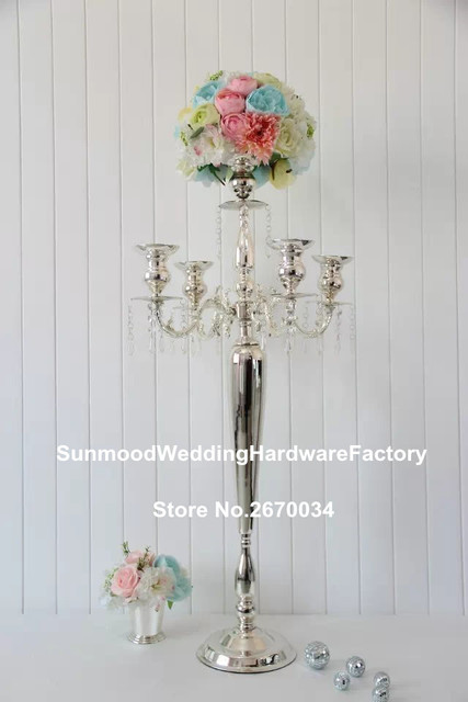 Tall Silver Metal Flower Stand Wrought Iron Wedding Centerpieces