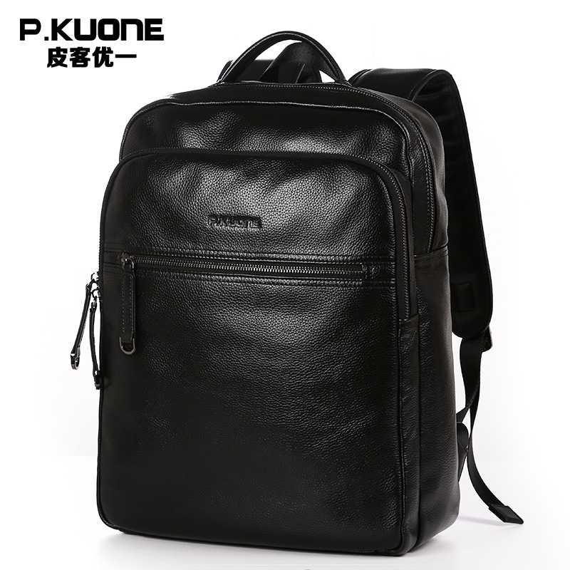 P.KUONE Luxury Brand Genuine Leather 2017 Fashion Men Bag High Quality Waterproof 14inch Laptop bag Travel Backpack School Bag voyjoy t 530 travel bag backpack men high capacity 15 inch laptop notebook mochila waterproof for school teenagers students