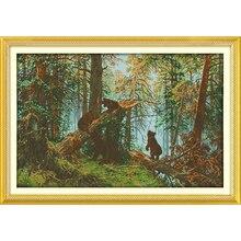 영원한 사랑 크리스마스 소나무 숲 아침 생태 면화 크로스 스티치 11CT 및 14CT 인쇄 새 상점 판매
