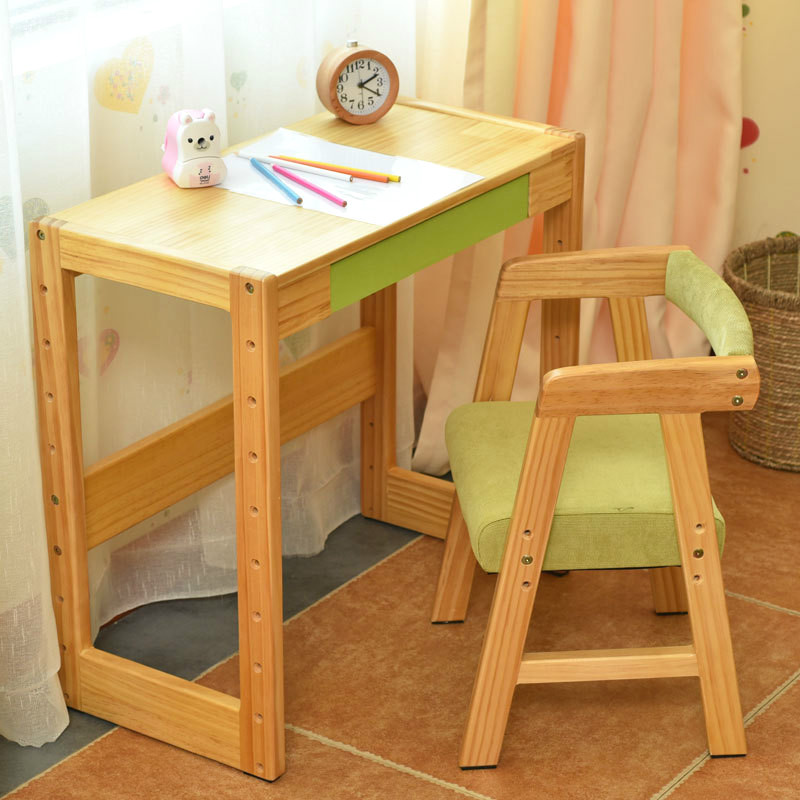 High Quality Student Desk Chair Set The Height Adjustable Children Learning  Table Solid Wood Furniture Set