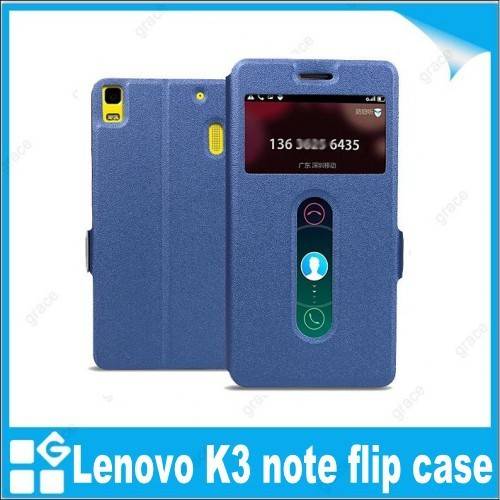 Screen protector + flip case for lenovo K3 note 5.5 inch K50-T5 leather cover case with window high quality free shipping