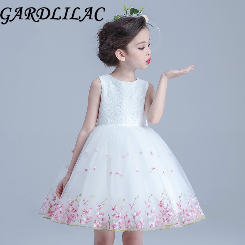 Gardlilac Organza Applique Ball Gown White Pink Flower Girl Dress ...