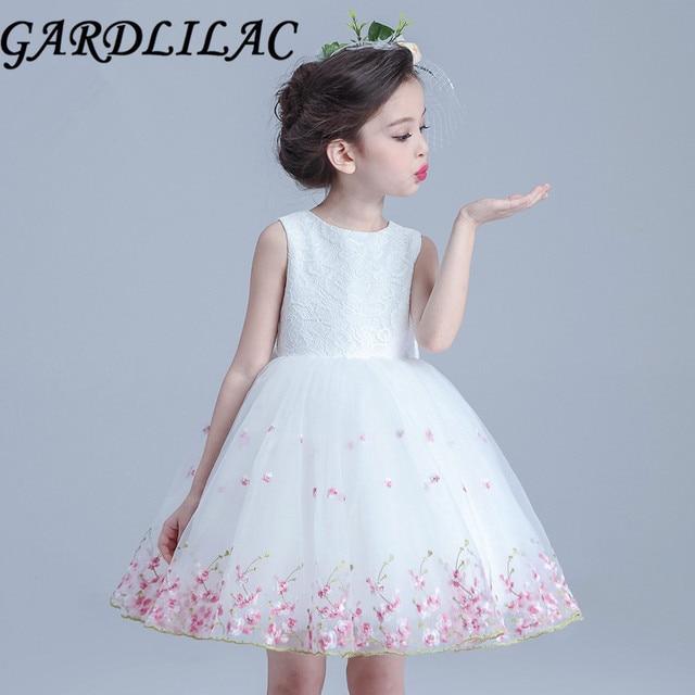 f60a80b6441 Gardlilac Organza Applique Ball Gown White Pink Flower Girl Dress Short Girl  Dresses Sleeveless Halloween costumes Kids clothes