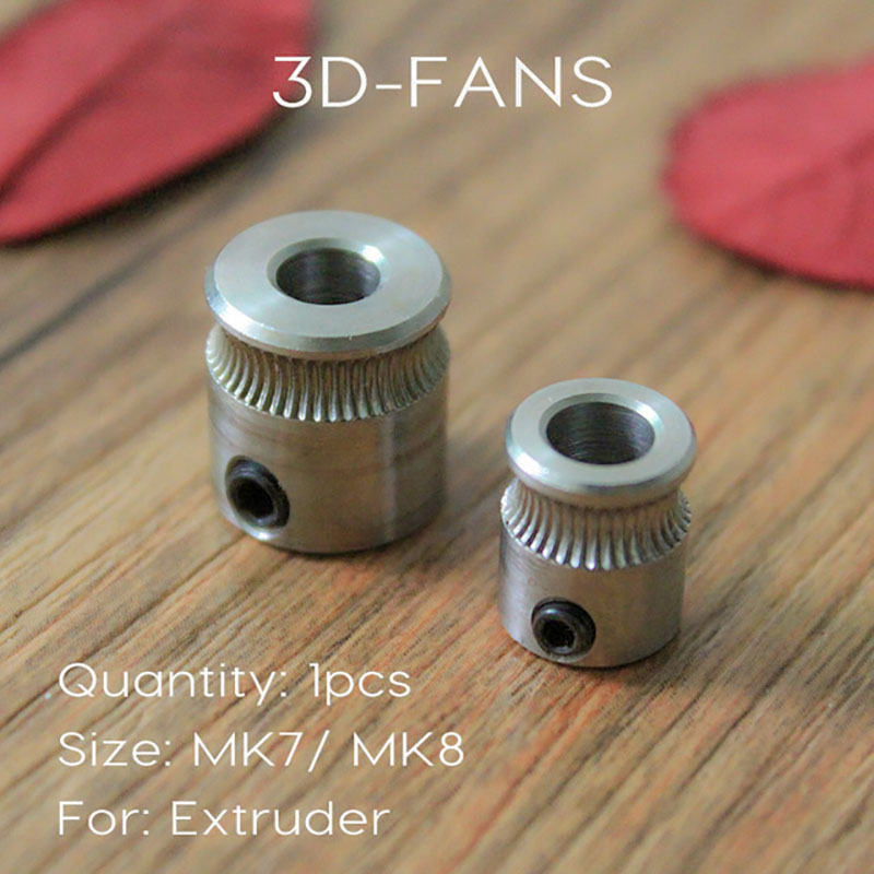 5pcs MK8 / MK7 Extruder Drive Gear Bore 5mm For 1.75mm And 3.0mm Hobbed Gear For Makerbot Reprap Mendel Stainless Steel