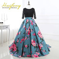 Huifany Formal Ball Gown Satin Long Floral Print Evening Dresses with Lace Bolero Jacket Half Sleeves Lace up Back Prom Dress