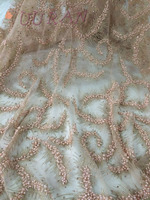 Beaded African Tulle Fabric 2017 African French Lace Fabric High Quality With Stones PeacNigerian Embroidery Tulle French Lace