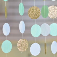 ФОТО 3m mint/white/gold party circle garland backdrop for wedding birthday anniversary showers festival confetti garland banner
