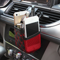 Car air outlet storage bag with net  mobile phone holder keys holder cigarette tray box  vent bag red line Storage arrangement