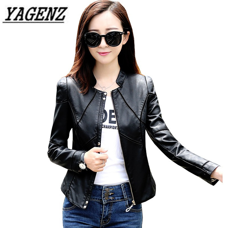 2018 Spring Autumn Women's PU Leather Jacket coat Plus Size 4XL Black Slim Short Outerwear Motorcycle Female Faux Leather Jacket