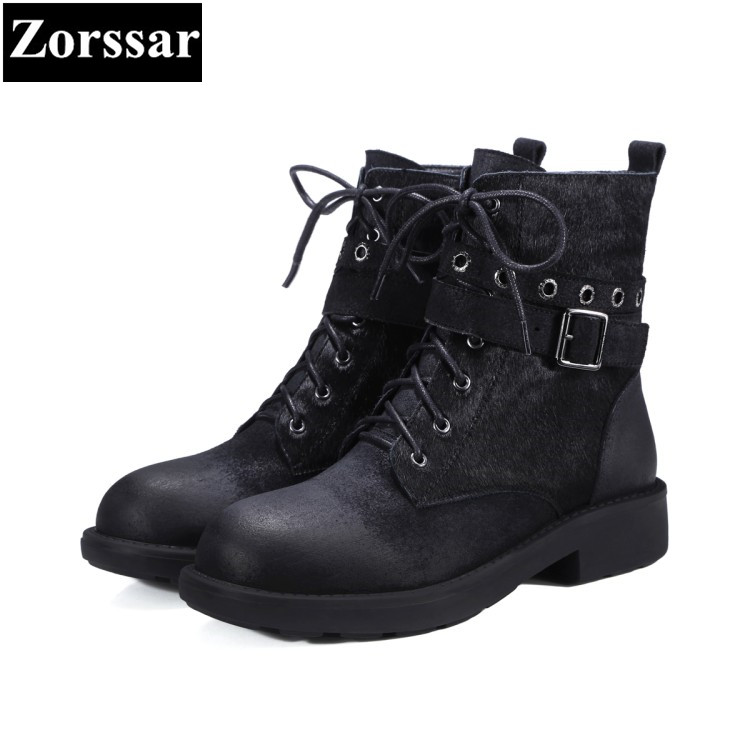 {Zorssar} 2018 Autumn winter women ankle boots Low heel Ladies Shoes Fashion Suede lace up Casual Vintage Womens Martin boots front lace up casual ankle boots autumn vintage brown new booties flat genuine leather suede shoes round toe fall female fashion