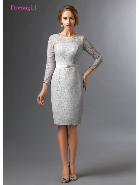 Silver 2018 Mother Of The Bride Dresses Sheath 3/4 Sleeves Lace Knee ...