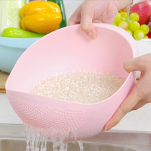 Urijk Candy Color Kitchen Use Rice Wash Pot Plastic Drainer Vegetable Fruit Basket Kitchen Storage Bowls Plastic Leakage Tool