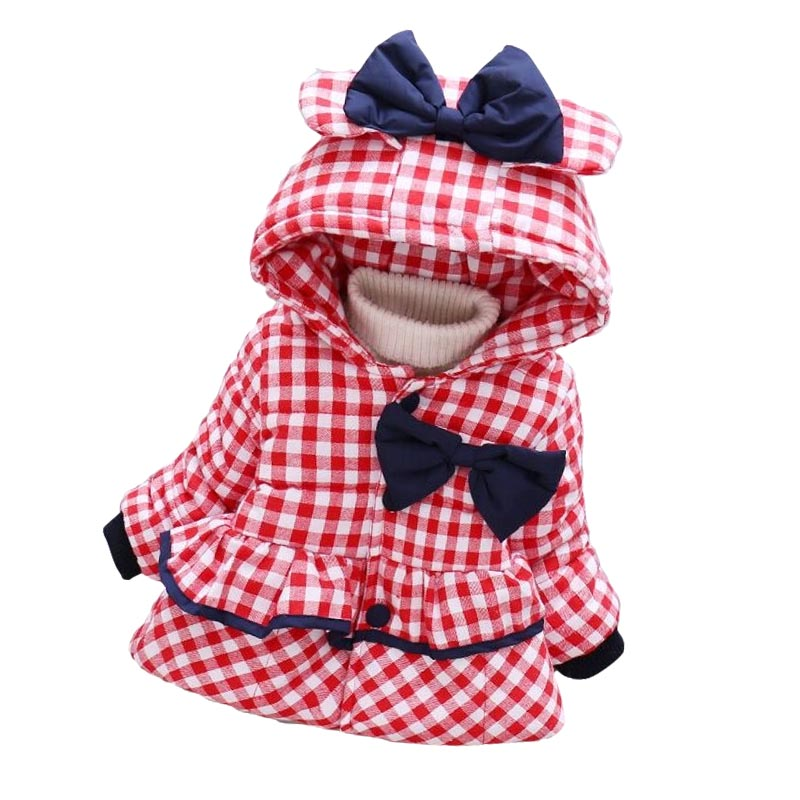 2018 Boys Girls Baby Autumn Winter Coat New 0-4 Years Old Children Cartoon Bear Thick Warm Tartan Cotton Clothing