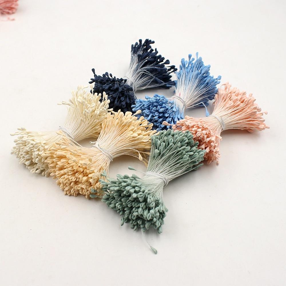 1 paquete = (360 unids) flor artificial cabezas doble mate estambres diy postal