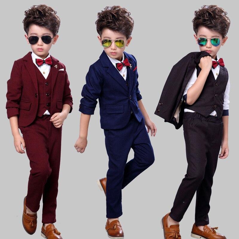 suit for boy toddler solid boys suits for weddings 3pcs blazer pant vest kids wedding suit