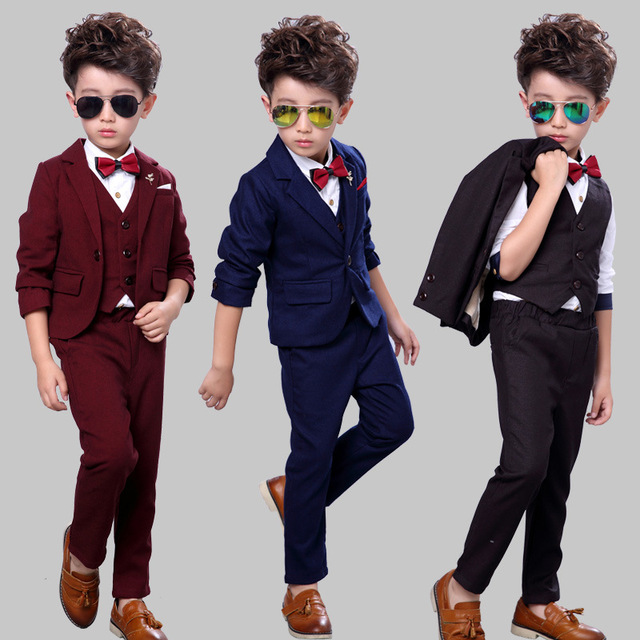 Suit For Boy Toddler Solid Boys Suits For Weddings 3PCS Blazer Pant ...