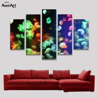 5 Panel Fluorescent Jellyfish Colorful Animal Painting for Living Room Home Decoration Wall Art Canvas Prints Artwork Unframed