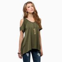 Fashion Women T Shirt V Neck Strapless Off Shoulder Short Sleeve Fishtail Irregular Hem Summer Tops Tees