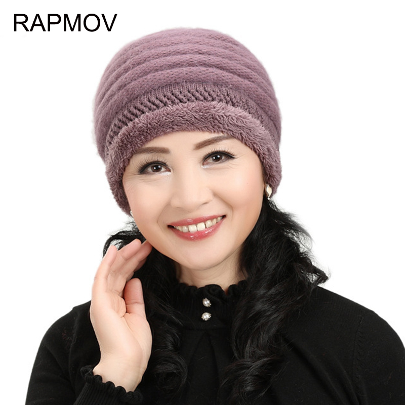 2017NEW Fashion Autumn And Winter Female Hats Middle-aged rabbit fur warm hat for women Mom grandmother Thick wool Knitted cap 2017 new fashion autumn and winter wool leaves hollow out knitting hat thick female cap hats for girls women s hats female cap