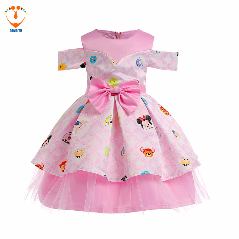 DENDITH Girls Dress Pink animals print Baby Dresses Princess Children Party Frocks Fancy Kids Wedding Clothing for Girl