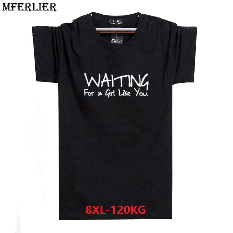 MFERLIER plus size big 6XL 7XL 8XL summer men casual t-shirts Wolf funny cheap short sleeve Hipster tShirt print letter Tear red