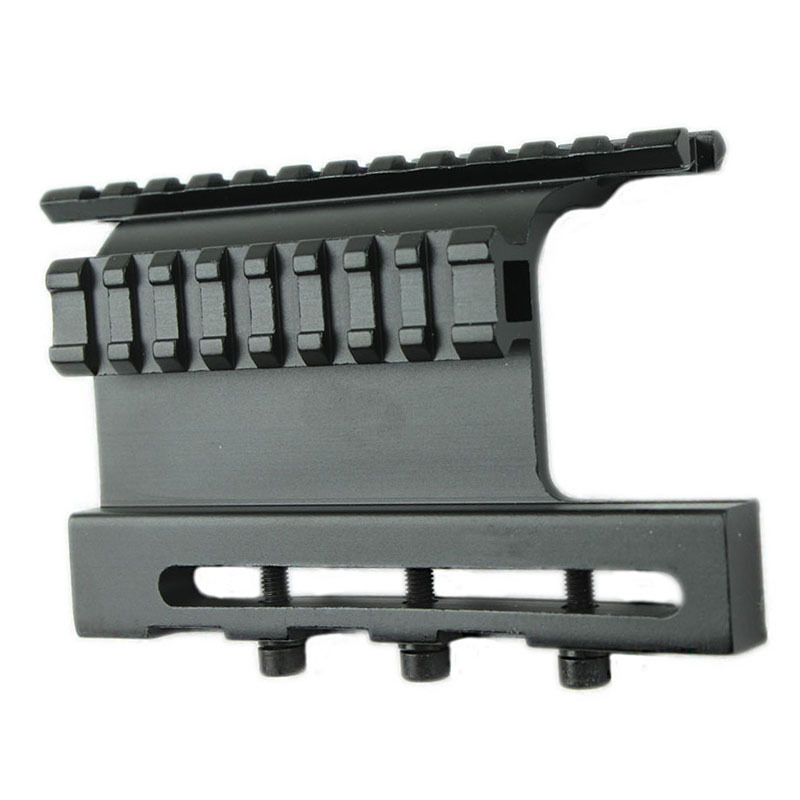 Tactical AK Double Picatinny Rail Side Mount System Screw Style for 47 / 74 Fit Tactical Scopes Right on Top of Bore Centerline