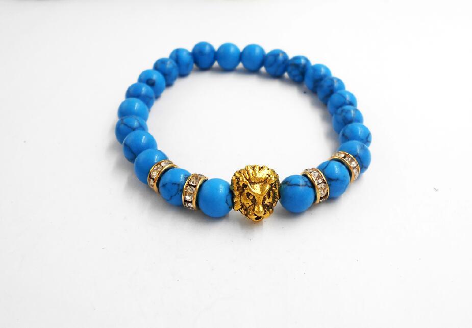 2017 Leopard Tiger Eye Lion Head Bracelet Elastic Rope Chain & Link Natural Stone Friendship Men Bracelets Jewelry