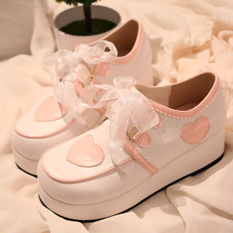 Japanese Lolita Princess Sweet Heart Platform Lace Shoes Student Girl Cute Sport Shoes Cos Cosplay Shoes mori girl japanese cute bow buckle students single shoes school uniform jk leather shoes cross straps lolita princess shoes page 3