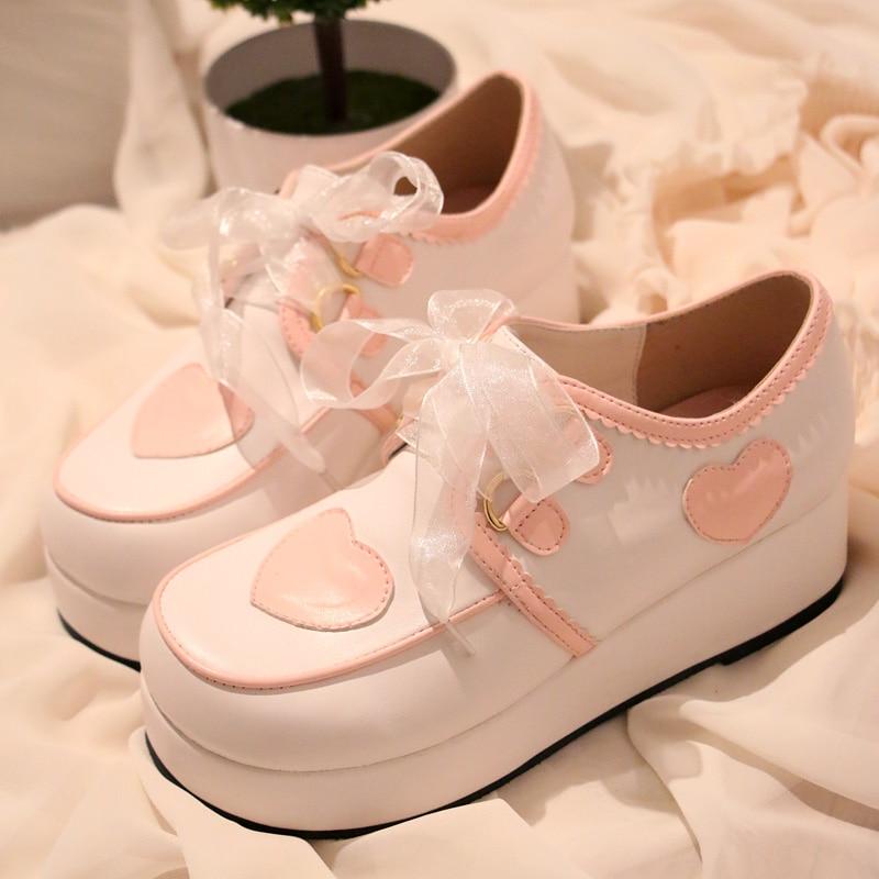Japanese Lolita Princess Sweet Heart Platform Lace Shoes Student Girl Cute Sport Shoes Cos Cosplay Shoes japanese sailor lolita cosplay thick platform cross