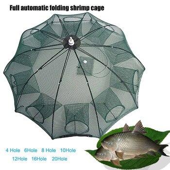 Renforcer 4-20 trous filet de pêche automatique en Nylon pliable attraper piège à poisson pour poissons crevettes ménés crabe fonte filet de pêche