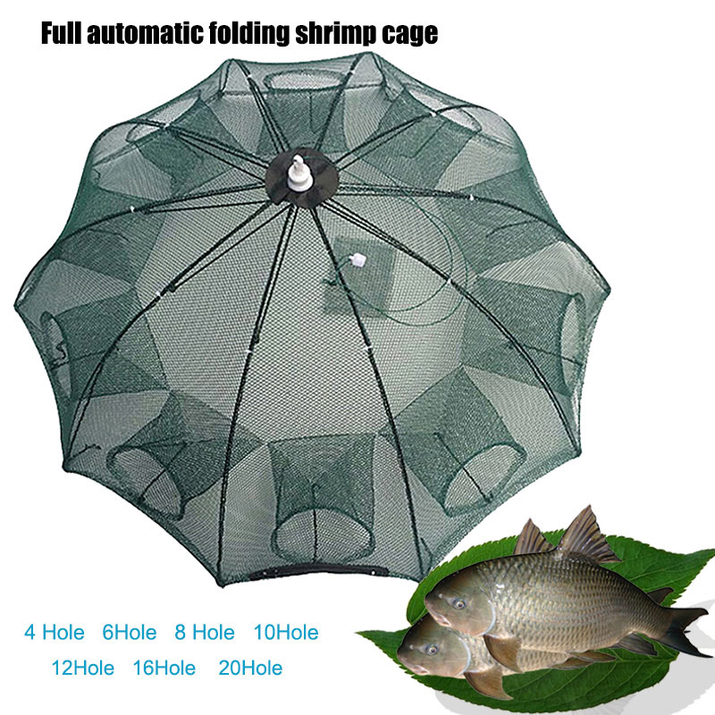 Strengthen 4-20 Holes Automatic Fishing Net Nylon Foldable Catch Fish Trap For Fishes Shrimp Minnows Crab Cast Mesh Fishing Net