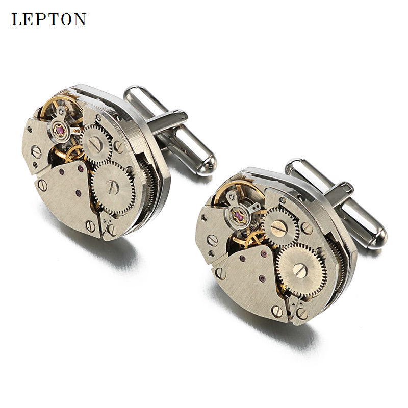 Hot Sale Watch Movement Manschettknappar av fast Lepton Stainless Steel Steampunk Gear Watch Mechanism Manschettknappar för Mens Gemelos
