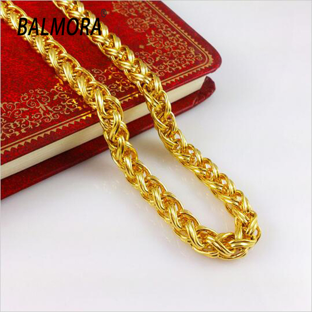 New Fashion Jewelry Vacuum Plating 24K Gold Men 60cm Necklace Colorfast Curb chain B040