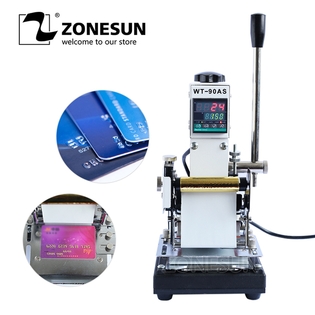 ZONESUN 220V/110V Professional Hot Foil Manual Card Tipper Stamper Printing Machine Stamping Machinery for Leather,PVC