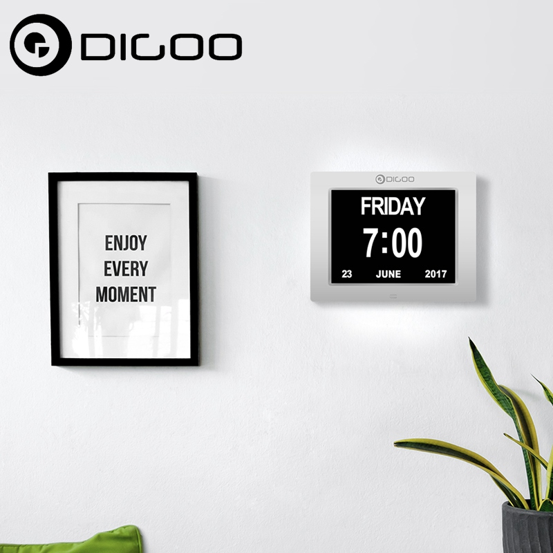 Digoo DC-K8 8 Memory Loss Digital Electronic Calendar Alarm Day Clock with Extra Large Non-Abbreviated Day & Month 3 Alarm цена