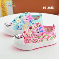 2017 Spring Baby Girls Canvas Shoes Children Cartoon Hello Kitty Shoes Toddlers Comfortable Flats Girls Soft