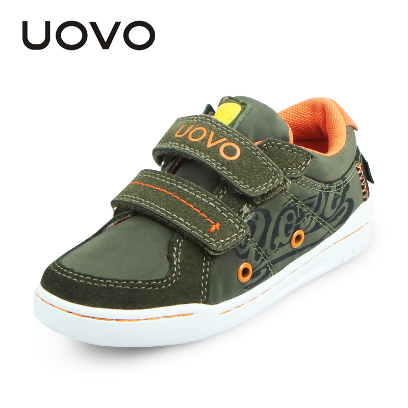 UOVO 2017 Children Shoes Double Hoop and loop straps Kids Boys Shoes Fabric Suede Casual Sneakers
