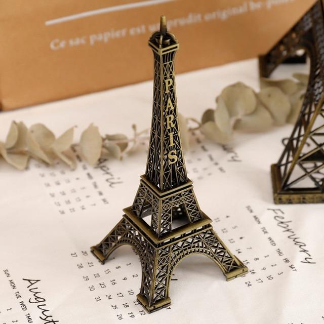 8cm-18cm Vintage Metal Paris Eiffe Iron Tower Bronze Style Figurines Craft Retro Antique Model Home Desk Decor Ornament Gift 5