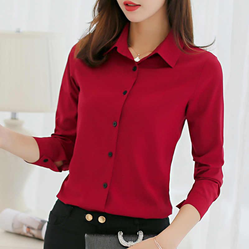 女性オフィスレディトップス春のファッション長袖スリム白シフォンブラウスシャツファム Blusa Feminina カジュアルブルーシャツ