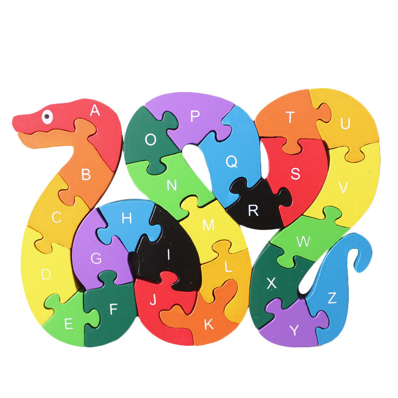 26 English Letters Toys Brains Lovely Wooden Snake Puzzles 3D Puzzle Educational Children Wooden Toys